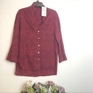 NWT Zara Cranberry embroidered tunic